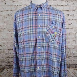 Vtg Nautica Long Sleeve Button Down Shirt XL Blue